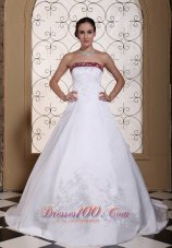 Wedding Dress Wine Red and White A-line Chapel Train