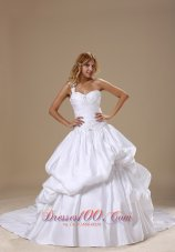 One Shoulder Wedding Gown Court Train Pick-ups