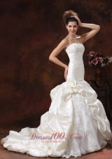 Champagne Mermaid Ruched Bodice Train Wedding Dress