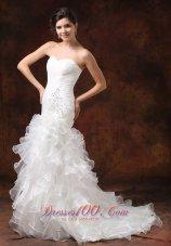 Mermaid Ruched Wedding Dress Beaded Ruffles Brush Train