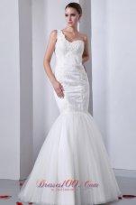 One Shoulder Mermaid Tulle Indoor Wedding Dress
