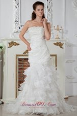 Column Strapless Ruch Wedding dress layered