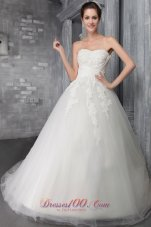 Discount Wedding Gown Sweetheart Chapel Train Tulle