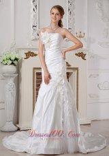 Strapless Hand Made Flower Chapel Train Wedding Dress