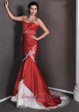 Red Mermaid Wedding Gown Sweetheart Appliques Brush Train