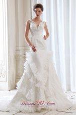 Empire V-neck Mermaid Bridal Dresses Ruffles Beading
