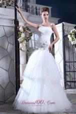One Shoulder Mermaid Bridal Dress Crystal Tulle Tiered