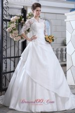 Attractive V-neck Long Sleeves Wedding Dress