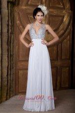 Stunning Beaded V-neck Chiffon Prom Dress