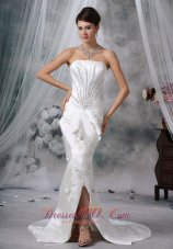 Qualified Satin Mermaid Strapless Beaded Wedding Dress