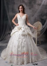Snow White V-neck Taffeta Lace Wedding Gowns