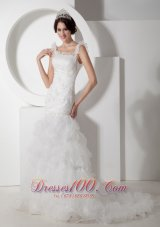 Floral Mermaid Straps Ruchings Wedding Dress Organza