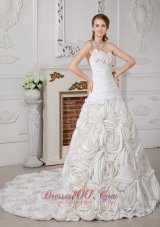 Gorgeous Wedding Dress Fabric With Rolling Flowers