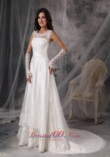 Stylish Square Princess Taffeta Lace Bridal Dress