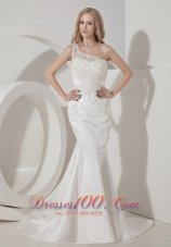 Amazing Mermaid One Shoulder Satin Lace Bridal Dress
