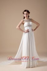 Elegant Empire Scoop Chiffon Beading Wedding Gown