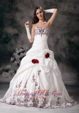 Sweetheart Bridal Dresses Taffeta Embroidery