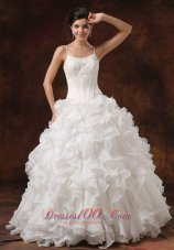 Bust Ruffles Spaghetti Straps Bridal Dresses