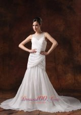 Soft Scoop Neckline Chiffon Ruch Bridal Dresses