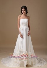 Vintage Strapless Chiffon Hand Made Flowers Bridal Dresses