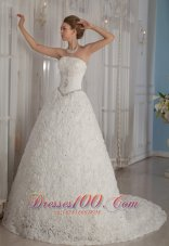 Romantic Rolling Flowers Princess Beading Wedding Dress