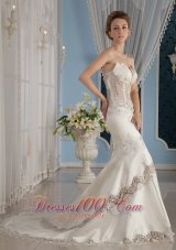 Trumpet Strapless Lace and Satin Wedding Dress