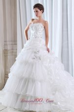 Fabulous Strapless Organza Beading Appliques Wedding Dress