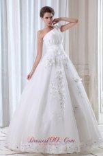 Best Seller Floral One Shoulder Tulle Appliques Wedding Dress