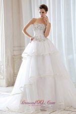 Princess Strapless Tulle Beading and Appliques Wedding Dress