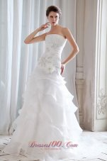 Fitted Princess Strapless Organza Ruchings Wedding Dress