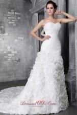 Gorgeous Rolling Flowers Sweetheart Ruffles Wedding Dress