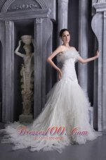 Gorgeous Mermaid Strapless Organza Ruffles Wedding Dress