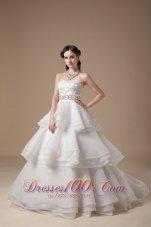 Elegant Strapless Taffeta and Organza Layered Wedding Dress