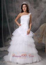 Dressy One Shoulder Wedding Dress Tulle Beading
