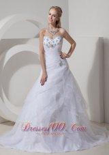 Mod Sweetheart Organza Beading Wedding Dress