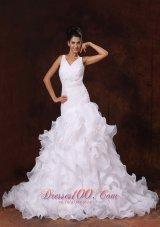 V-neck Organza Ruffles Church Stylish Wedding Dress