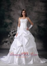 Sweetheart Wedding Dress Taffeta Embroidery