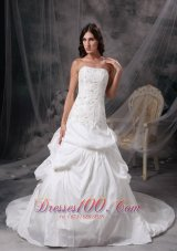 Strapless Wedding Dress Taffeta Appliques On Sale