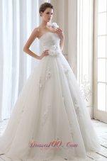 One Shoulder Tulle Beading Floral Wedding Dress