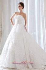 Princess Sweetheart Lace Ruchings Bridal Dress