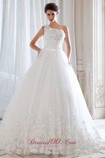 One Shoulder Tulle Beading Appliques Bridal Dresses