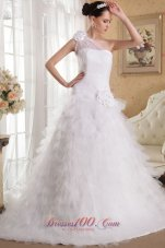 Floral One Shoulder  Ruffles Bridal Gown