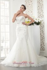 Court Train Tulle Beading Bridal gowns