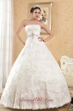 Strapless Satin Beading Special Fabric Bridal Gowns