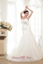 Trumpet Sweetheart Organza Sequins Bridal Gown