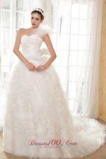 One Shoulder Taffeta and Tulle Beading Bridal dresses