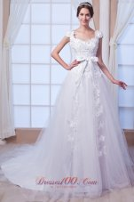 Princess Square Tulle Embroidery Wedding Gowns