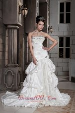 Taffeta Chapel Train Strapless Beading Wedding Dress