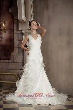 V-neck Mermaid Wedding Gown Ruffles Organza Chapel Train