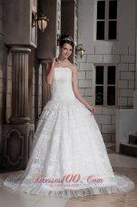 Strapless Special Fabric Beading A-line Bridal Wedding Dress